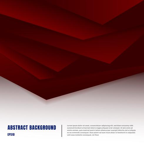 Abstract paper art style layout template. Dark red gradient triangles overlapping realistic shadows on white background luxury concept. You can use material design for brochure, banner web and mobile app, poster, booklet, leaflet, flyer
