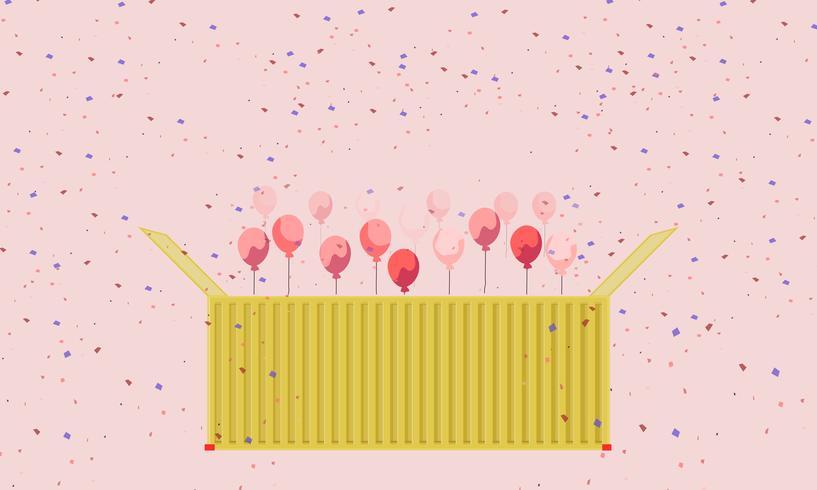 Buntes Geschenk-Behälterkastengelb und Herzballon-Vektorgrußkarte vektor