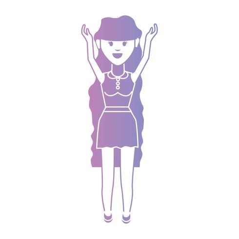 linea donna con design acconciatura e vestiti
