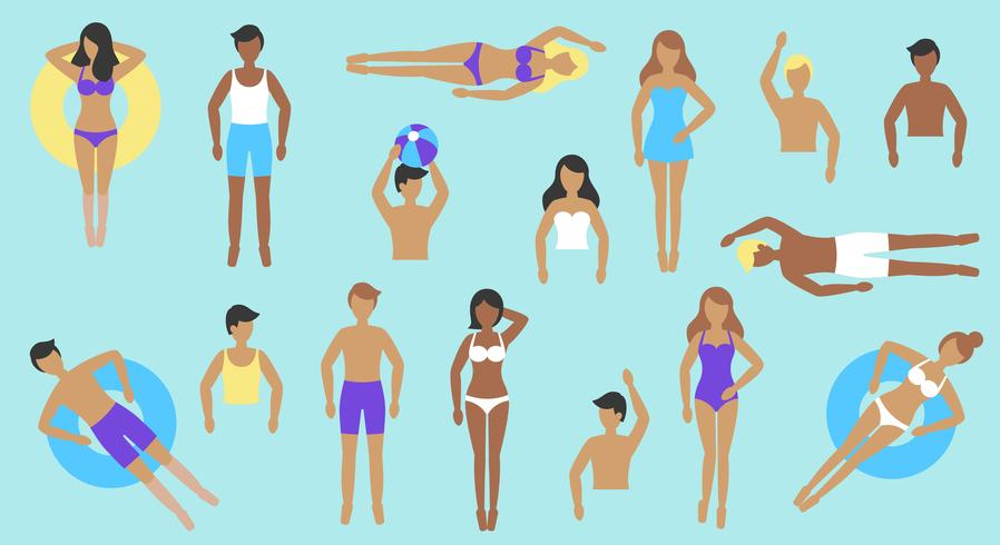 People in swimsuit with different post vector