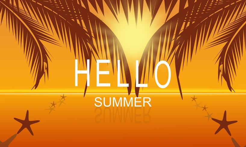 Vector l'estate sul fondo del manifesto del partito della spiaggia del mare al tramonto con ciao il testo dell'estate