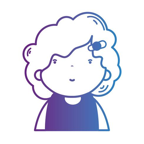 line avatar girl with hairstyle and blouse