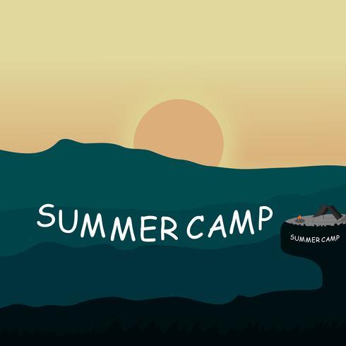 Schattenbild der kampierenden Landschaft des Sommers im Gebirgsdesign auf Vektorhintergrund