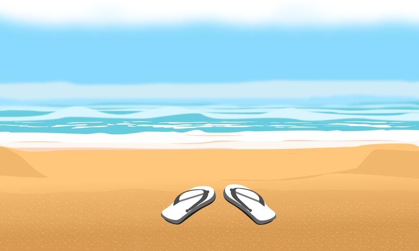 Background for summer beach and vacation. Sandals on sand vector design illustration