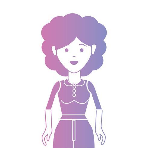 linha mulher com penteado e roupas design