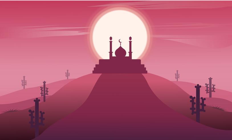 Ramadan kareem landskap med moské silhuett islamisk. vektor design illustration på mörk rosa bakgrund