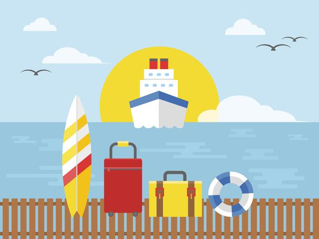 Summer vacation, Cruise ship travel vector illustration