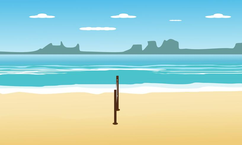 Volleyball on the beach in summer holidays and seascape view background. design vector illustration