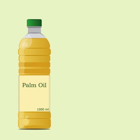 Conception de bouteille d'huile de palme et d'huile végétale isolée sur un fond vert. conception illustration vectorielle eps.