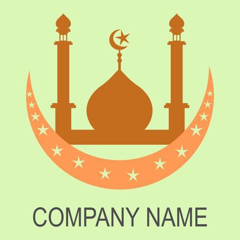 Logo vectoriel de mosquée islamique moderne et icône sur fond de couleur vert tendre