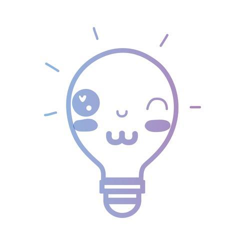 line kawaii cute funny bulb idea