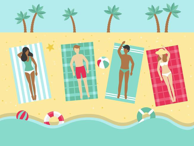 Summer Holiday, Sunbathing on the beach vector