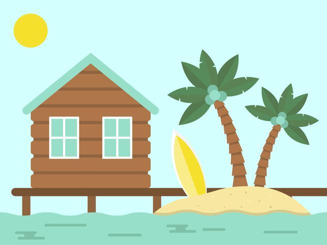 Sommerurlaub, Bungalow und Insel mit Meer
