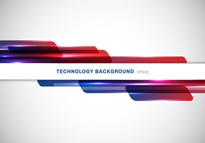 En-tête abstrait bleu et rouge des formes géométriques brillantes qui se chevauchent en mouvement présentation de style futuriste de technologie sur fond blanc avec espace de copie.