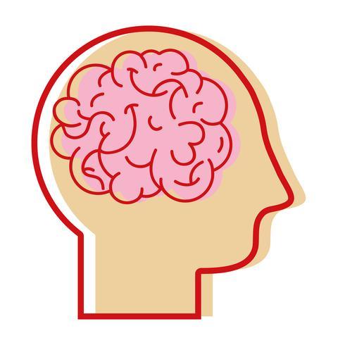 silhouette man with anatomy brain design