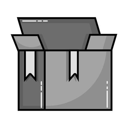 design aperto oggetto pacchetto scatola in scala di grigi