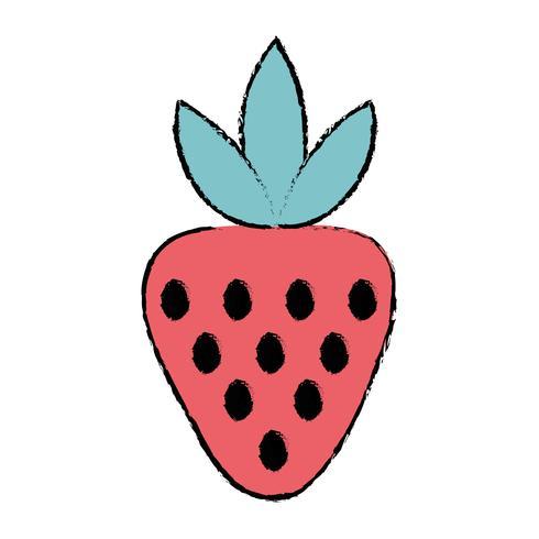Doodle delizioso cibo frutta fragola biologica vettore