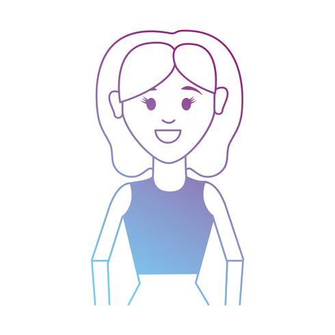 Linie Frau mit Frisur und Blusendesign