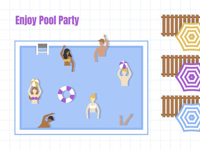 Fiesta en la piscina, vista superior Piscina vector