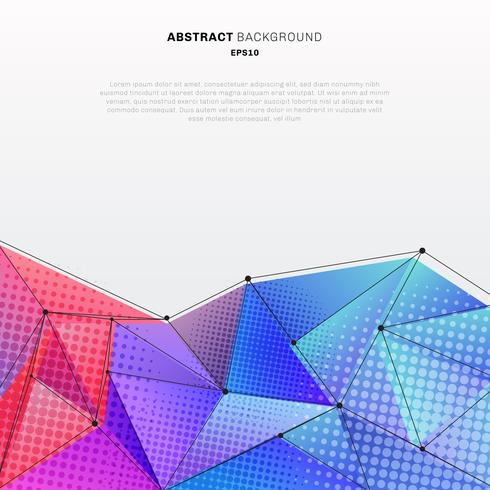 Abstract 3d low polygon shape colorful with halftone and wireframe structure on white background technology style. You can use for digital business cover brochure, poster, banner web, leaflet, flyer, etc. vector