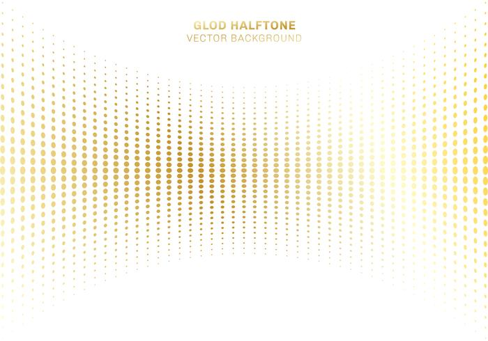 Abstract curve gold dots pattern halftone on white background luxury style elements.