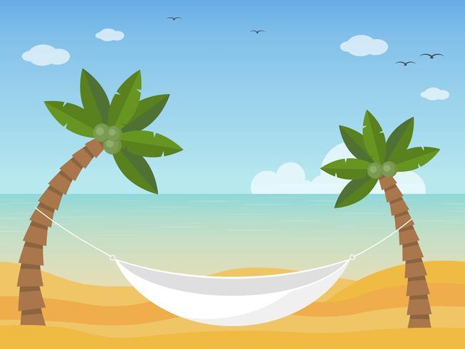 Vacances d'été, hamac sur le vecteur de la plage
