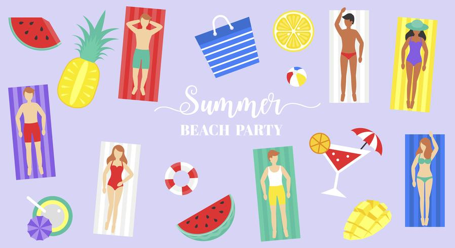 Summer Beach party, personnes sur un tapis de plage