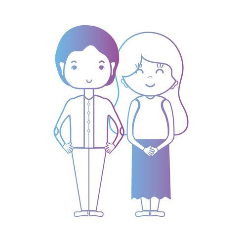 linha casal agradável juntamente com design de penteado
