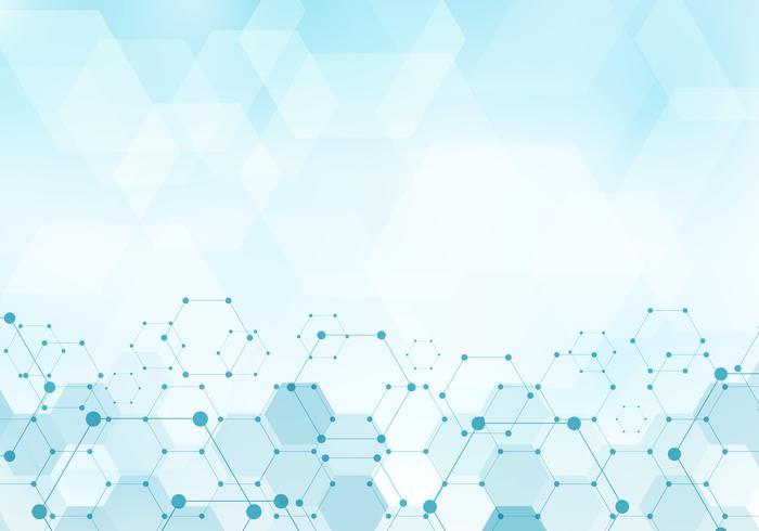 Los hexágonos abstractos modelan la molécula en concepto digital de la tecnología azul del fondo con el espacio de la copia. Elementos geométricos para la plantilla moderna de diseño de comunicaciones, medicina, ciencia y tecnología.