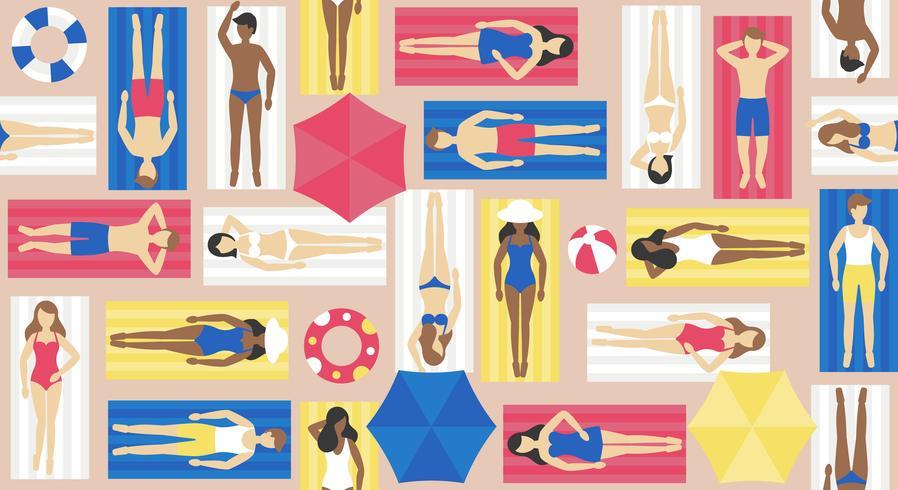 Prendere il sole, persone diverse sul vettore di stuoia della spiaggia