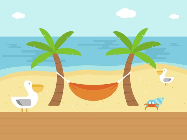 Vacaciones de verano, hamaca en el vector de playa