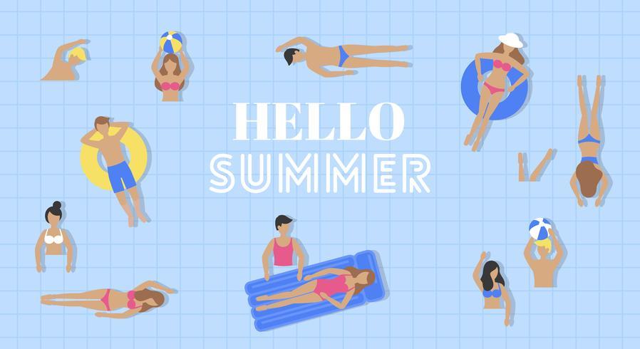 Bonjour l'été, vue de dessus vecteur de piscine