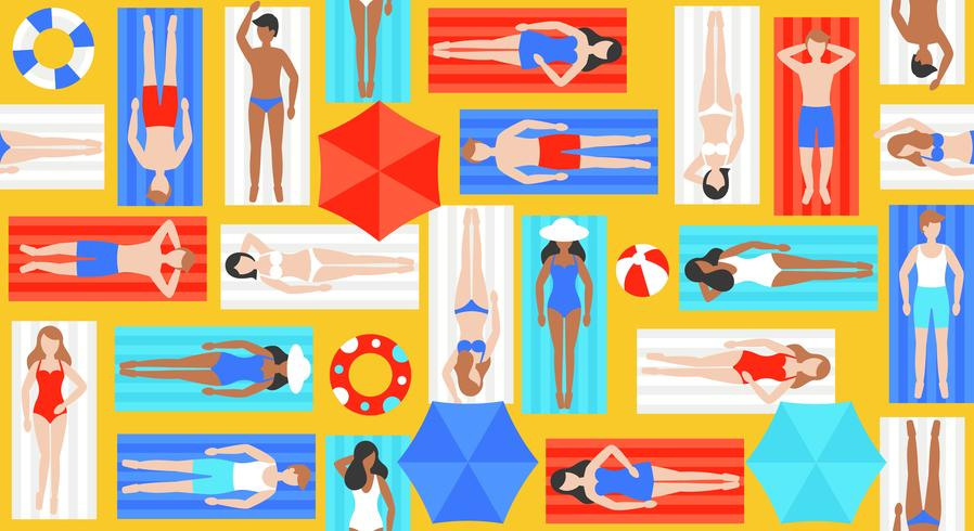 Sunbathing, different people on beach mat vector