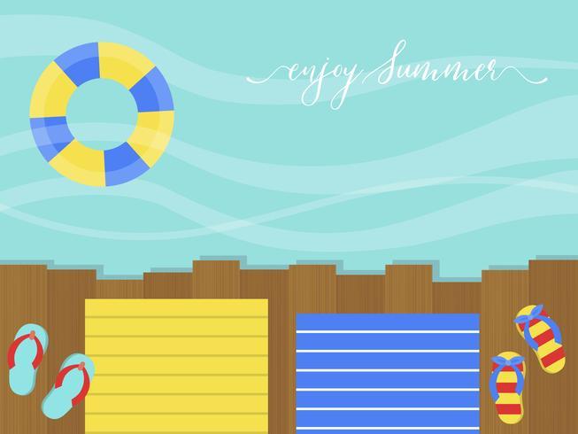 Geniet van de zomer, houten terras aan zee