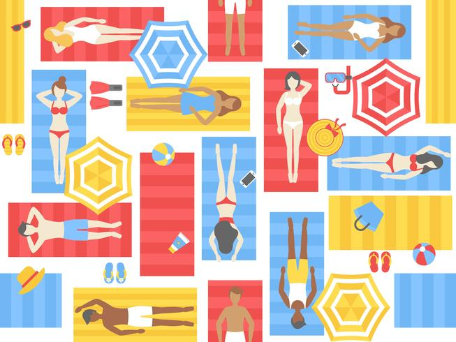 Sunbathing seamless pattern, different people on beach mat vector