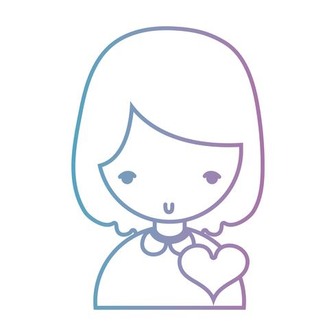 line girl with hairstyle and heart design