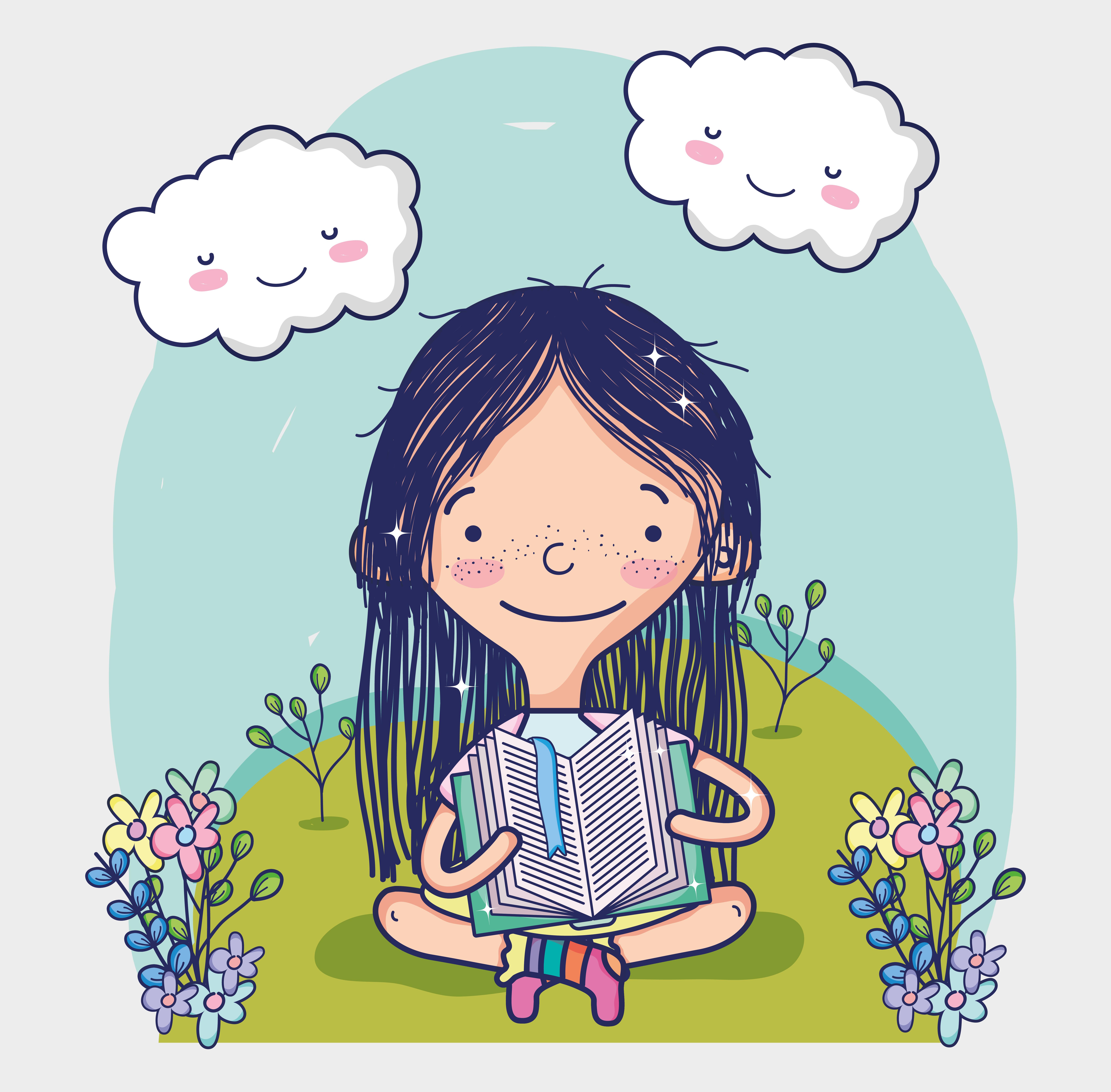 reading cartoon cute vector clipart graphics leyendo libro keywords related