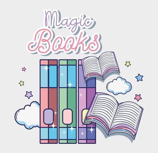 Fantasy och magiska böcker vektor