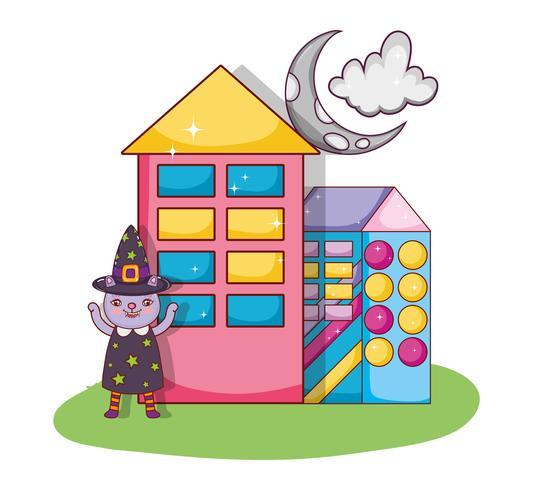Fumetto della strega del gatto di Halloween