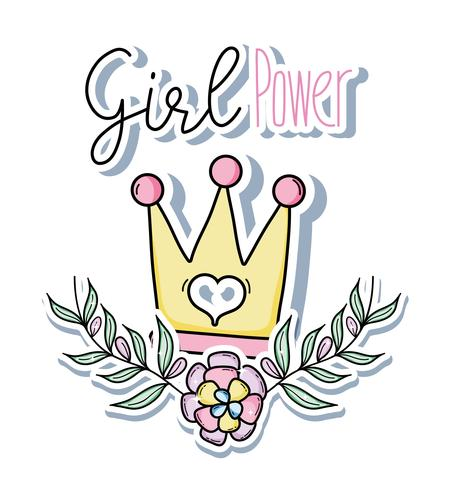 Girl power dessins animés mignons