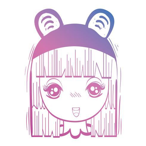 cabeça de menina anime linha com custome e penteado