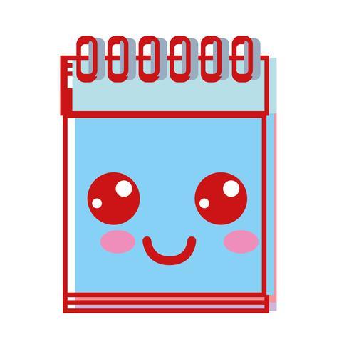 kawaii schattig blij notitieboekje gereedschap vector