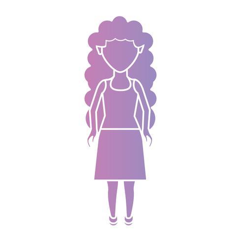 Silhouette Frau mit Frisur und Kleidung Design