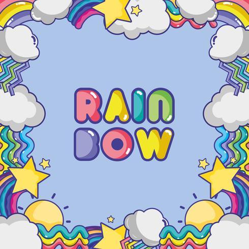 arcobaleno con sfondo di forme e nuvole differenti