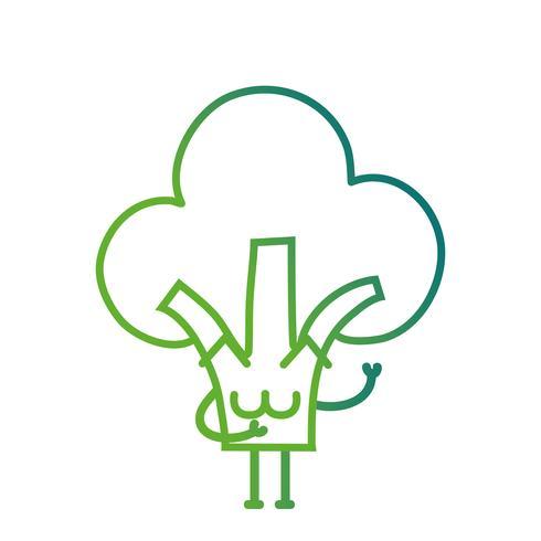 línea kawaii linda feliz brócoli vegetal