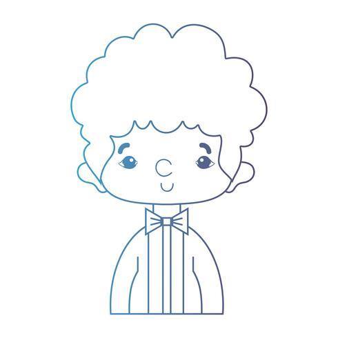 Linie netter Junge mit elegantem Anzug und Frisurendesign