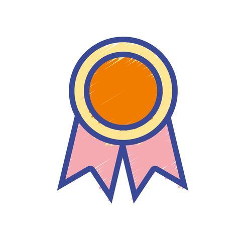 Símbolo de la medalla escolar para estudiante inteligente.