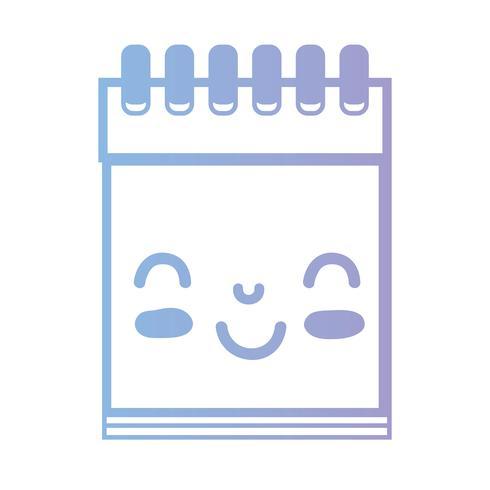 linha kawaii bonito feliz ferramenta de caderno