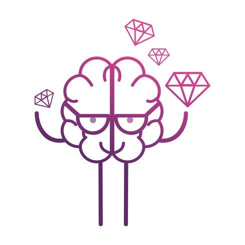 kawaii de cérebro de linha com ícone de dimonds vetor
