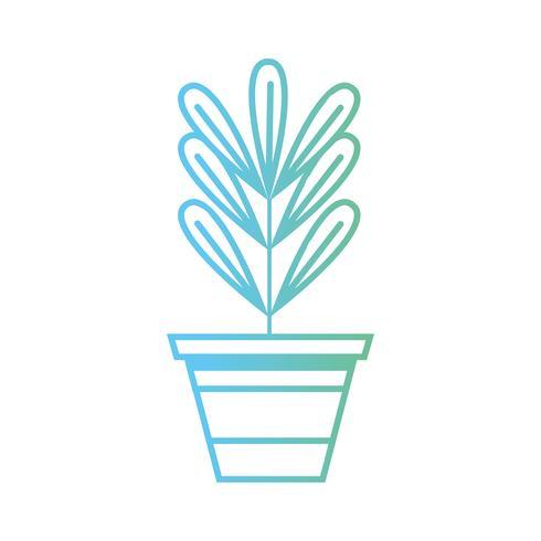 linjeplanta med löv inuti blomkruksdesign